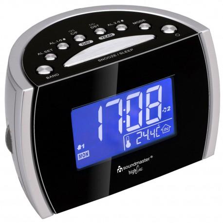 Radio reloj AM-FM con alarma Dual y temperatura interior. UR108