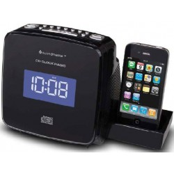 Radio Reloj CD - MP3 con base iPod - iPhone Recargable. URD810IP