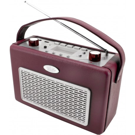 Radio AM-FM con USB  polipiel Rojo Burdeos. TR50BO Soundmaster