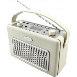 Radio AM-FM con USB polipiel Crema. TR50BE