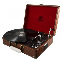 Reproductor de Vinilo Maleta con USB. Attache Marron